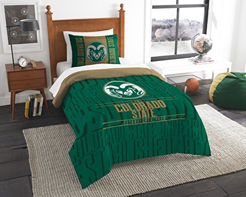 The Northwest Company Officially Licensed NCAA Colorado State Rams Modern Take Twin Comforter and Sham