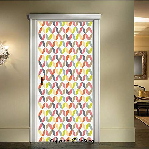 (baihemiya Applique Sticker,Decorative-Ornament-Vintage-Connected-Arcs-Intersecting-Centre-Discs,W30.3xL78.7inch,for Home Decor Self-Adhesive Removable Art Door DecalsMulti)