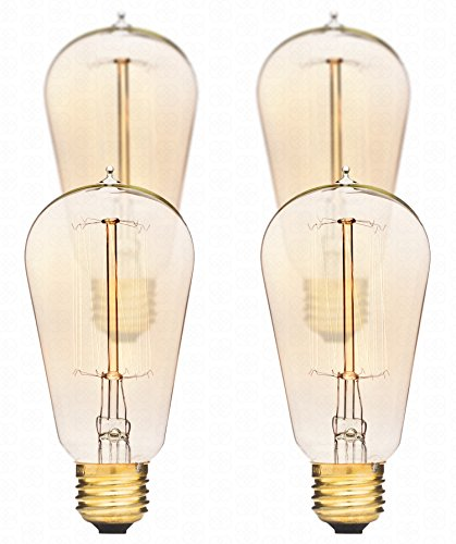 Edison Light Bulbs by Deneve - Standard 4-Pack - Thomas Edison 40w Antique Chandelier Lights Bulb Lamp - Vintage Modern Warm Clear Glass Teardrop Edison String Style Squirrel Cage Filament (Bronze Leaf Accents Table Lamp)