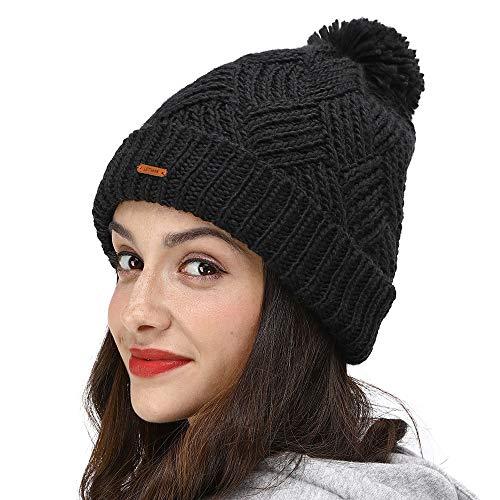 LETHMIK Slouchy Pom Beanie Hat,Knit Skull Winter Cuff Beanie Cap Women Cute Winter Pom Pom Black