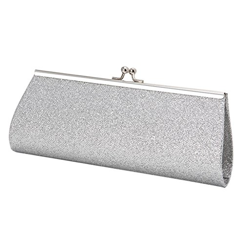 Best-topshop Giltter Handbag for Women Girls, Metal Chain Coin Phone Bag for Wedding Shopping Date Evening Cocktail Party School Outdoor (Silver)