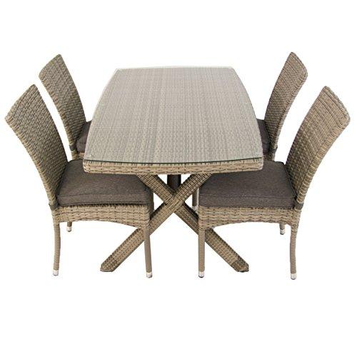 Conjunto mesa 140x80 cm y 4 sillas apilables | Aluminio y rattán sintético plano color gris | 4 plazas | Cristal templado 5 mm | Portes gratis