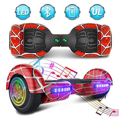 NHT 6.5 inch Aurora Hoverboard Self Balancing Scooter with Colorful LED Wheels and Lights - UL2272 Certified Carbon Fiber/Spider/Built-in Bluetooth Speaker Available (Spider Red)