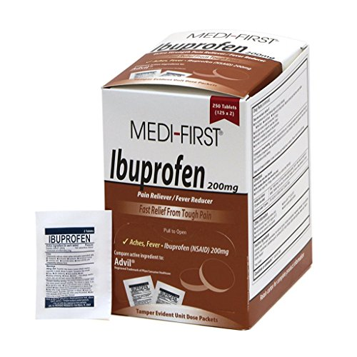 - Medi-First Ibuprofen, 250 Per Box, 2 Tablets Per Packet