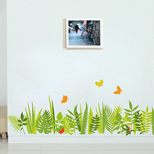 TOTOMO Butterfly In Bushes Baseboard Wall Decals Stickers Wall Décor Art
