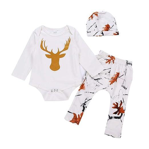 9f0d1c18382a Amazon.com  3 Pcs Newborn Outfit Set Baby Boys Girls Deer Bodysuit ...