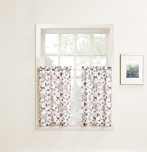 No. 918 Forest Friends Animal Kitchen Curtain Tier Pair, 56″ x 36″, Ivory White