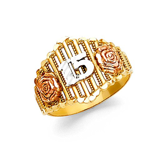 Or Filles Tri Jewelers color 14 Band nbsp;fleur nbsp;k Solide Paradise 15 Bague a0xUq5w0