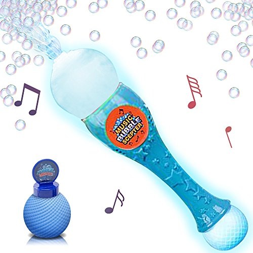 Light Up Musical Bubble Blower Wand by ArtCreativity 13.5 Illuminating Bubble Blower Wand w/ Thrilling LED and Music Sound Effect for Kids, Bubble Fluid - Batteries Included | Gift Idea/Party (Bubble Wand)