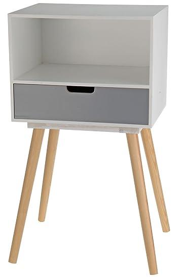 Moderne Holz Kommode Im 70er Jahre Retro Design   1 Schublade    Beistelltisch Konsolentisch Sideboard