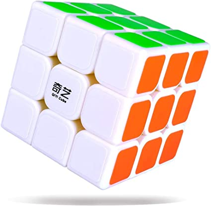 AGAMI 3x3 QIYI WhiteThunderclap High Speed Rubiks Rubix Rubic Cube, (White Base)