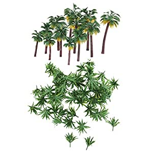 MonkeyJack 62Pcs 1/75 -1/500 Palm Tree & Grass Tree Models for Warhammer Diorama