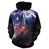 Slendima Colorful Galaxy Starry Sky Printed Unisex Sport Hoodie Sweatshirt Hip Hop Couple's Pullover - 3 Size is Available S/M