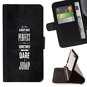 For Apple iPod Touch 6 6th Generation Dare Jump Inspiring Motivational Black Style PU Leather Case Wallet Flip Stand Flap Closure Cover