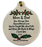 Mom & Dad Unconditional Love 2017 Porcelain Ornament Gift Boxed Thank You Parents