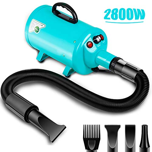 amzdeal Dog Dyer 2800W/3.8HP, Pet Hair Force Dryer, Dog Grooming Blower, Dog Hair Blaster with Adjustable Stepless Speed and Heat System, Spring Hose, Blue