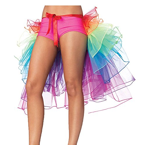 NAVAdeal Organza Colorful Teen & Adult Rainbow Dance Bustle Costume, Great for Pride, Color Run, Halloween Party
