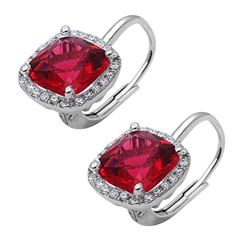 (Halo Leverback Earrings Cushion Simulated Red Ruby Round Cubic Zirconia 925 Sterling Silver)
