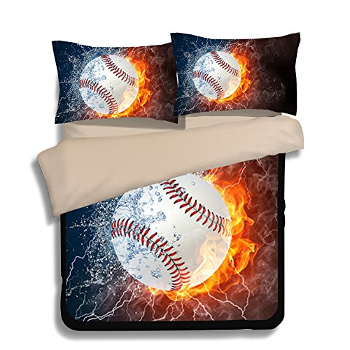 FAITOVE Baseball Microfiber 3pc 80''x90'' Bedding Quilt Duvet Cover Sets 2 Pillow Cases Full Size by FAITOVE