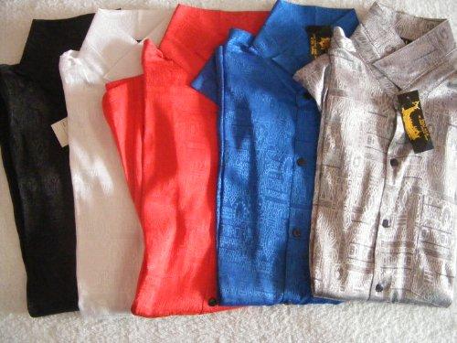 100% Thai Silk Shirt- Mosaic Artwork- Solid Color (Size - Mosaic Shirt