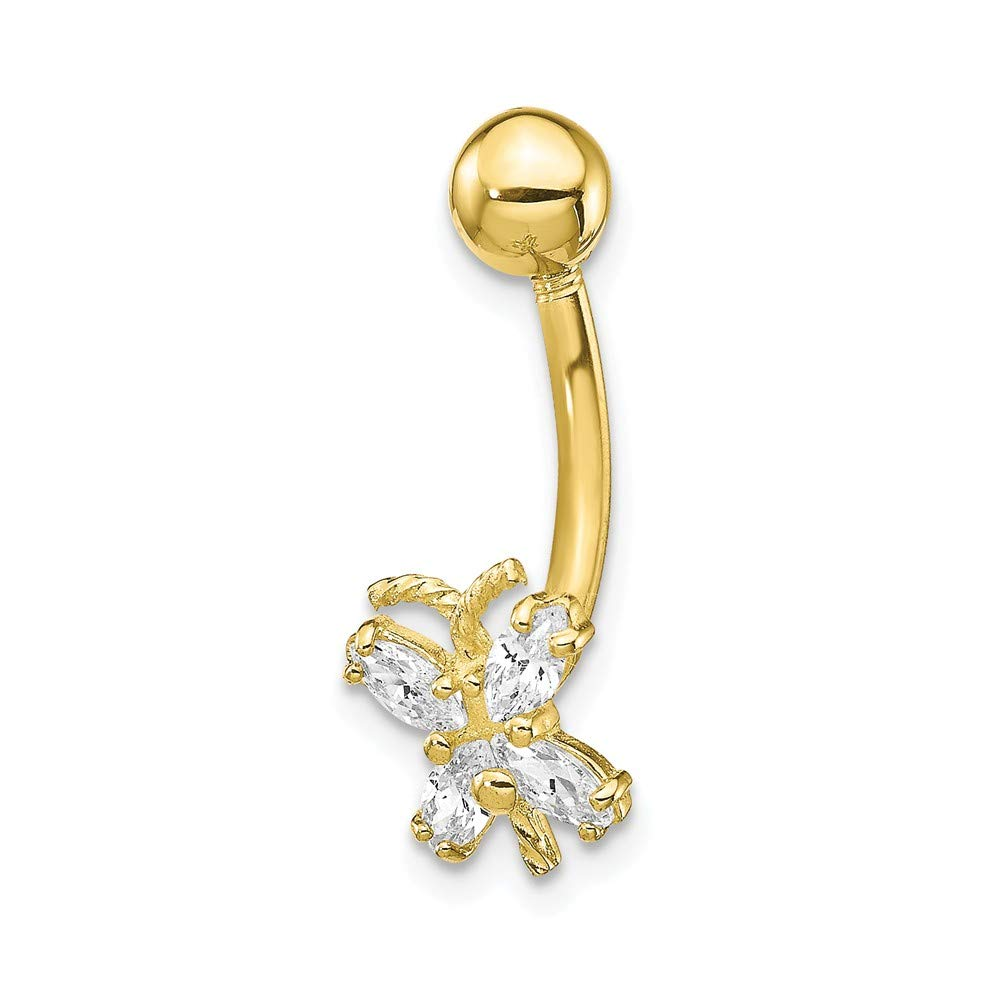 Solid 10k Yellow Gold with CZ Cubic Zirconia Butterfly Belly Dangle (7mm x 21mm)