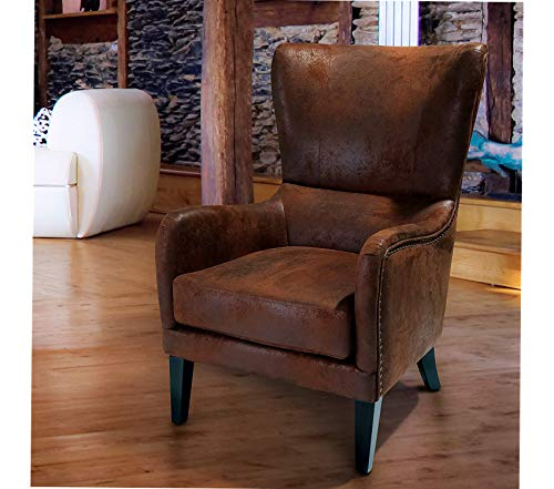 - Wood & Style Office Home Furniture Premium Salerno Brown Fabric Studded Club Chair
