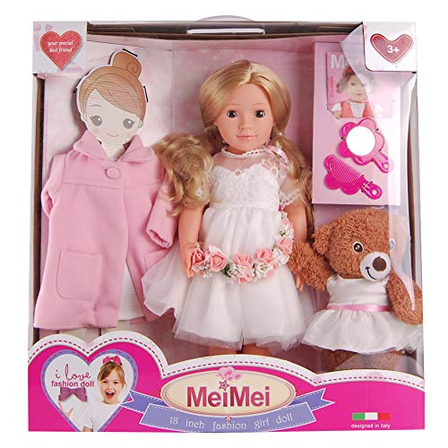 (MeiMei 18 inch Doll Girl Wedding Toy with Clothes Set Outfit Eyes Can Open & Close Toddler Dolls for Kids 3+ Adorable in Window Display Gift Box)