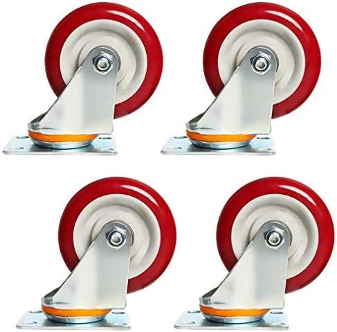 頑丈な4つの回転式家具キャスターのセット、赤いポリウレタン工業用キャスター、360°トッププレート、ダブルボールベアリング、耐久性、ノイズなし、300kg耐荷重、トロリー用、ワークベンチ(5インチ、ユニバーサル)