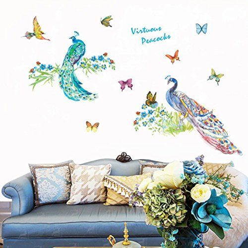 Cheap  Pbof Wall Stickers, DIY Peacocks Removable Wall Decal Family Home Sticker Mural..