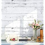HaokHome MR47 Peel and Stick Wood Wallpaper Shiplap Light Grey/White/Blue Distressed Wood Plank Removable Wallpaper Self…