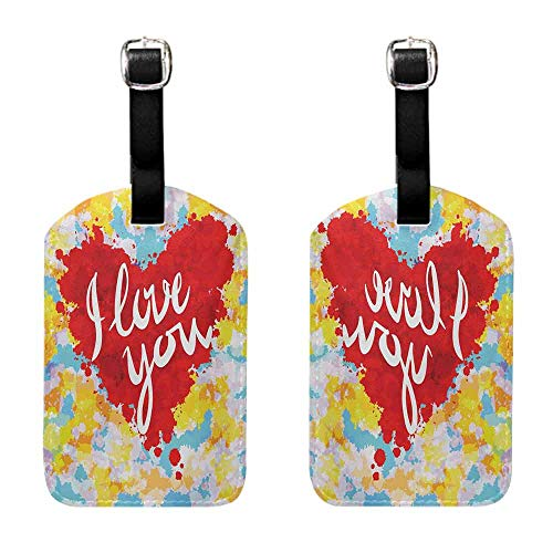 Luggage Tags 2 Pcs Set I Love You,Brushstroke Style Valentines Celebration Message My Other Half Celebration Image,Multicolor Leather Strap - Set of 2