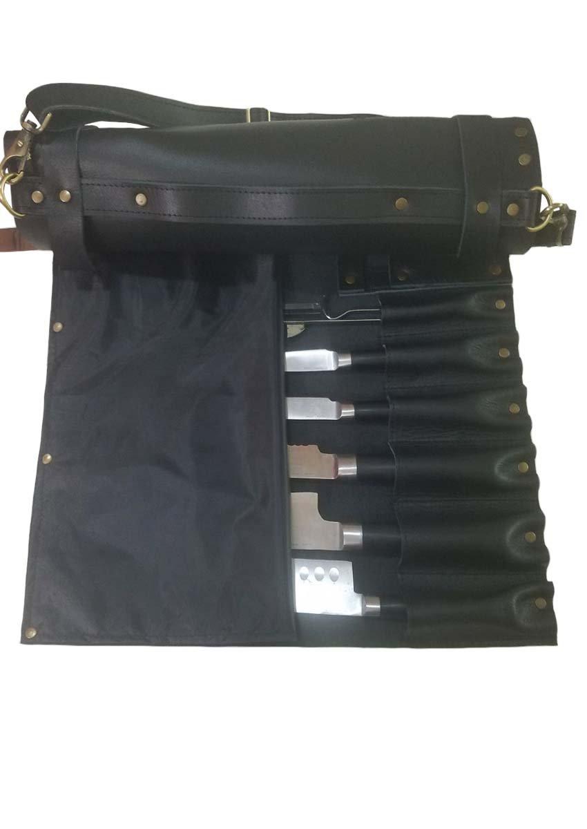 Professional Chef Lightweight Genuine Premium Black Leather 8 Pockets Chef Knife Bag/Chef Knife Roll