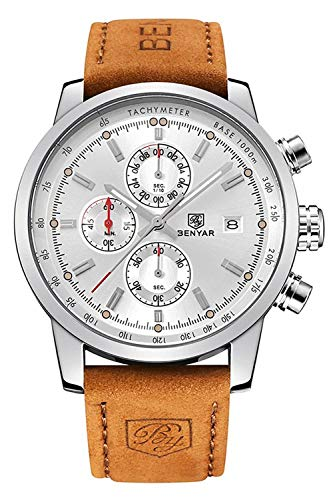 FOVICN Men's  Fashion Business Quartz Watch with Brown Leather Strap Chronograph Waterproof Date Display Analog Sport Wrist Watches, White ()