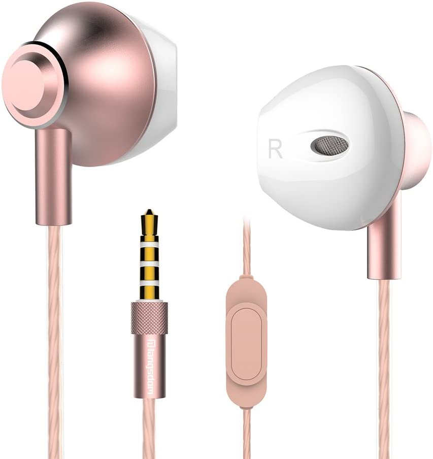 Personalized Rose Gold Earbuds,Langsdom F9 Headphones Powerful Bass Remote Control with Microphone Samsung, Android,MP3 & MP4 Players (Woman,Case)