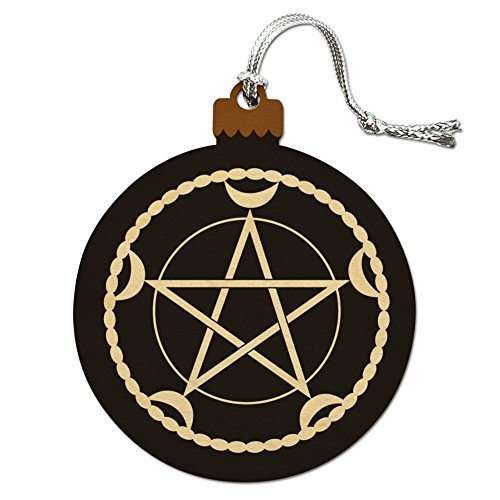 Pentacle Pentagram Moon Goddess Wiccan Witch Nature Wood Christmas Tree Holiday Ornament Christmas Tree Is Not Pagan