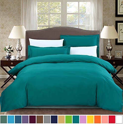 SUSYBAO 2 Pieces Duvet Cover Set 100% Cotton Twin/Single Size 1 Duvet Cover 1 Pillow Sham Solid Turquoise Luxury Quality Soft Breathable Hypoallergenic Fade Stain Wrinkle Resistant with Zipper Ties