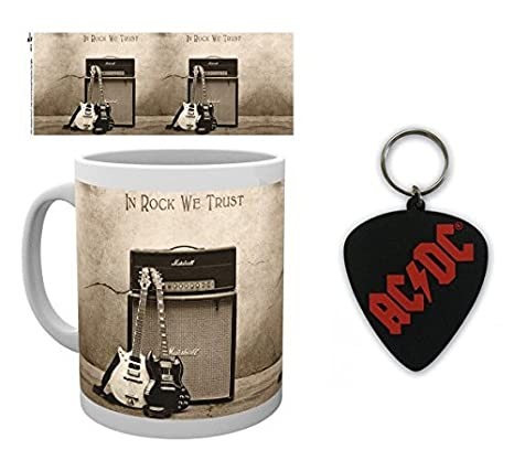 Set: AC/DC, Trust Rock Taza Foto (9x8 cm) Y 1 AC/DC, Llavero ...
