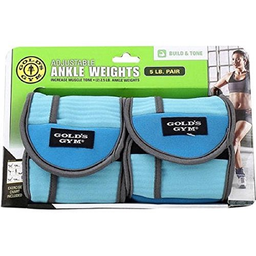 Gold's Gym 5 lbs. Pair Ankle / Wrist Adjustable Weight ~ Increase Muscle Tone (2) 2.5 lbs.
