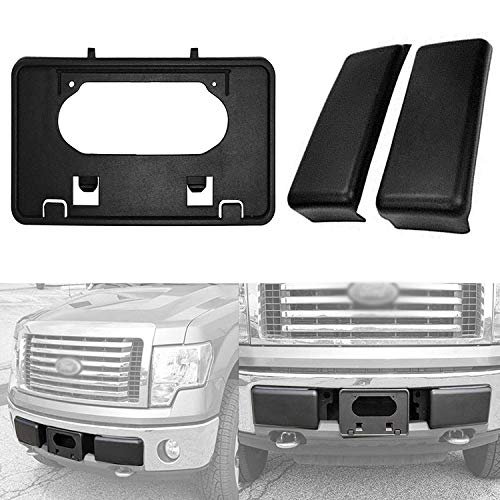 yjracing Front Bumper Guards Inserts Pads + License Plate Bracket Tag Set Fit for 2009-2014 Ford F150