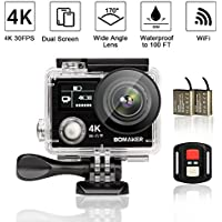 4K 30FPS Action Camera, Bomaker14MP Ultra HD WIFI Waterproof Sports Camera with Dual Display Screen, 170° Wide Angle lens, 2 Rechargeable Batteries included in Full Accessories Kits (2017 model)