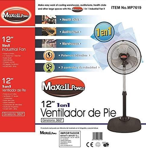Maxell Power CE Ventilador DE PIE Giratorio 360 Grados 60W 3 ...