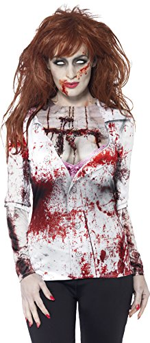 Smiffy's Women's Zombie Female T-Shirt, Multi, (Zombie Women)