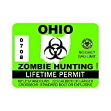 "RDW Ohio Zombie Hunting Permit - Color Sticker - Decal - Die Cut - Size: 4.00"" x 3.00"""