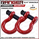 "Ranger 3/4"" Trade, 4.75 ton Working Load Limit Screw Pin Anchor Shackle, Forged Steel, Galvanized, Powder Coat by Ultranger"