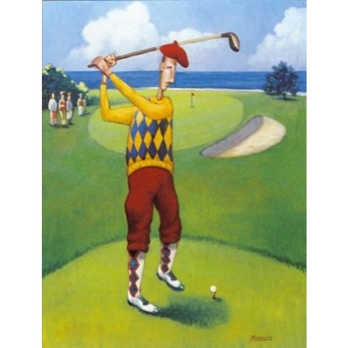 Plaid Fairway (Ready to Drive by David Morracco 24x18 Art Print Poster Abstract Figurative Sports Poster Golf Teeing Off Green Fairway Plaid Clothes Yellow Shirt Red Pants)