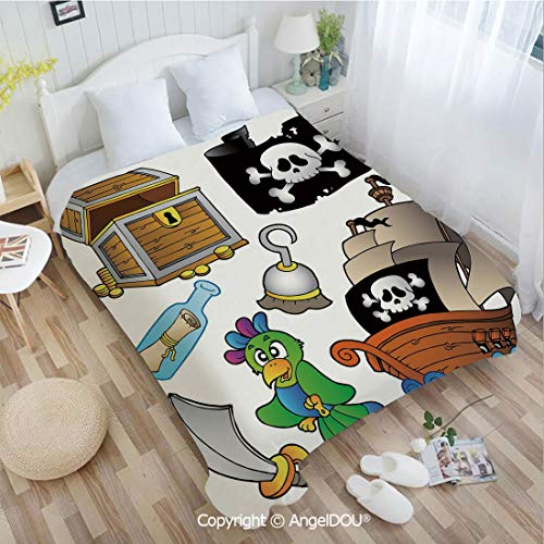 AngelDOU Warm air Conditioner Flannel Blanket W31 xL47 Pirate Themed Collection Treasure Chest Jolly Roger Flag Ship Cutlass Parrot Cartoon for Bed Cover Sofa car use.