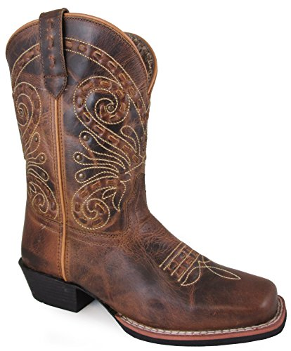 Smoky Mountain Women's Shelby Pull On Straps Stitched Design Square Toe Brown Waxed Distress Boots 9.5M ()