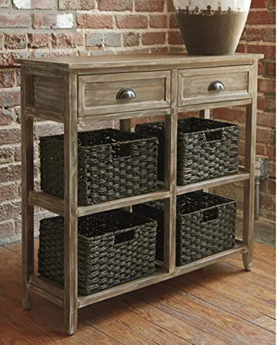 Ashley Furniture Signature Design - Oslember Storage Accent Table - Includes 4 Brown Removable Baskets - Antique Brown Finish