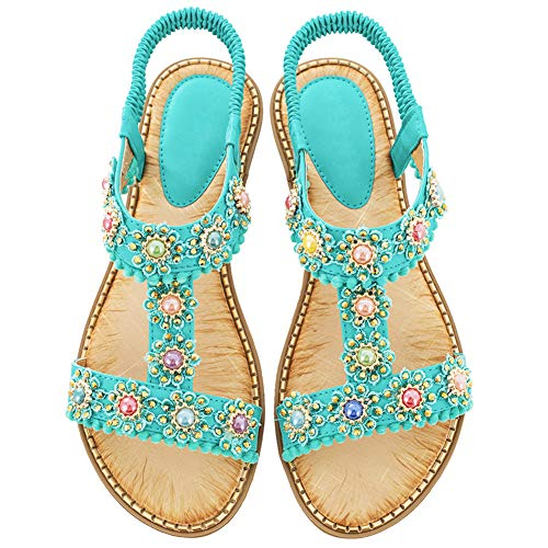 BIGTREE Women's Flat-Sandals Open-Toe Rhinestone Jewelry T-Strap Summer Beach Sandal Teal 9.5 US ()