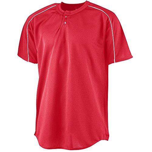 (Augusta Sportswear Men's Wicking Two-Button Baseball Jersey S Red/White)
